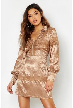 Womens Camel Satin Jacquard Lace Trim Shirt Dress