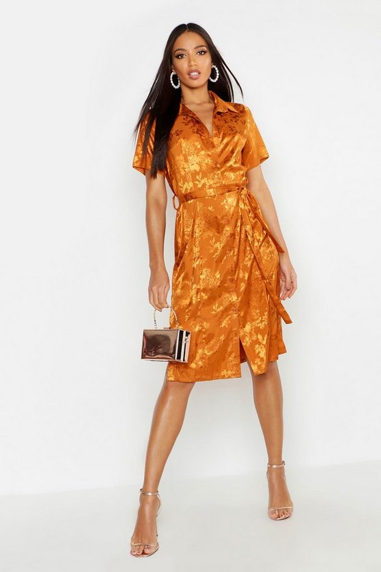 Womens Caramel Satin Jacquard Woven Shirt Dress