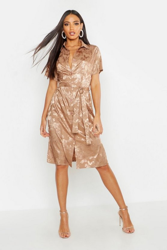 Womens Stone Satin Jacquard Woven Shirt Dress