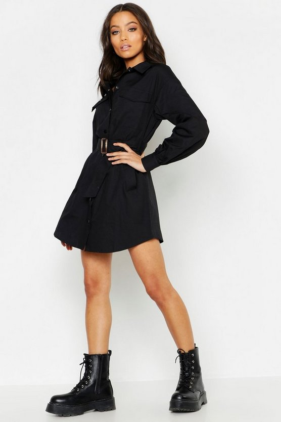 Womens Black Pocket Detail Oversized Sleeve Utility Shirt Dress
