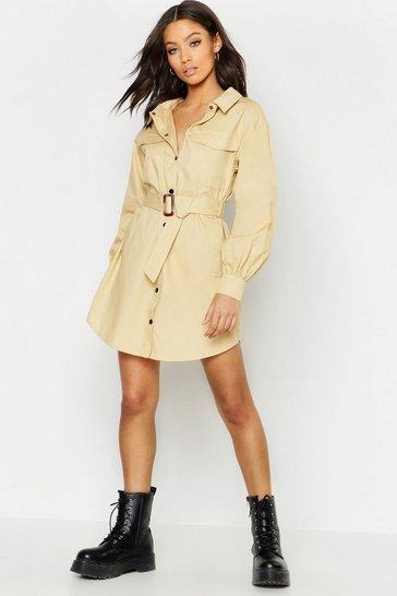 Womens Ecru Pocket Detail Oversized Sleeve Utility Shirt Dress
