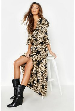 Womens Black Star Leopard Print Ruffle Hem Maxi Dress