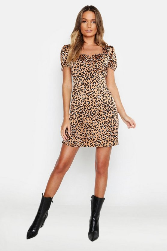 Sweetheart Leopard Print Tea Dress