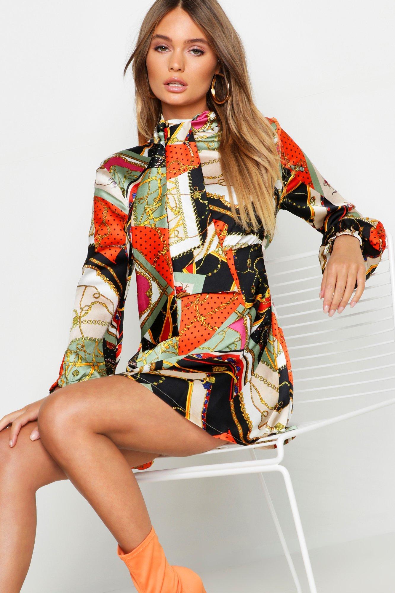 70s Dresses – Disco Dress, Hippie Dress, Wrap Dress Womens Tie Neck Chain Print Skater Dress - Orange - 12 $38.00 AT vintagedancer.com