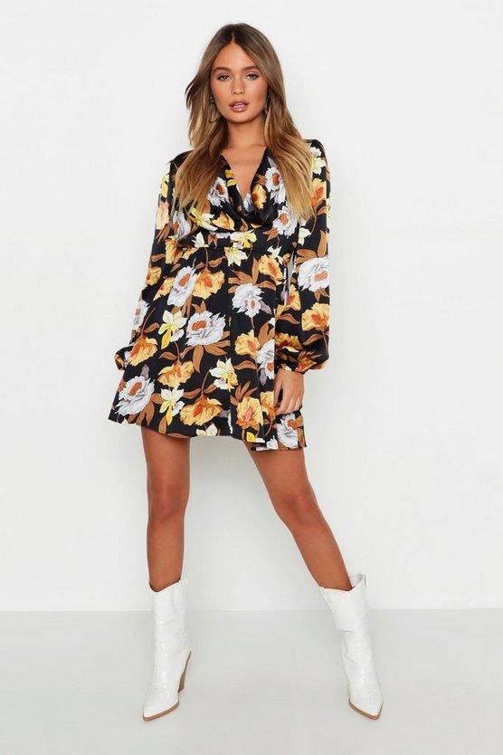 Cowl Back Floral Skater Dress