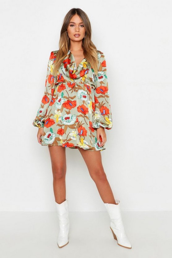Cowl Back Floral Skater Dress