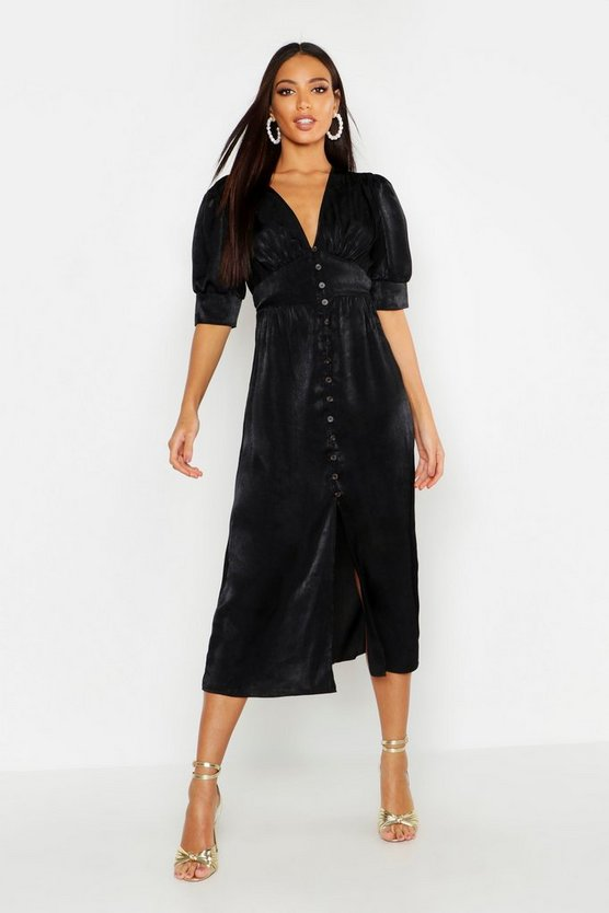 Womens Black Button Front Midi Dress