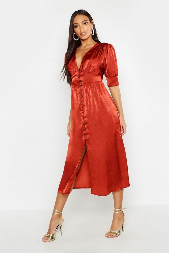 Womens Rust Button Front Midi Dress