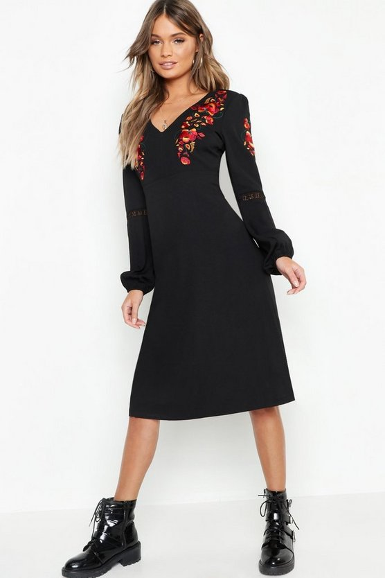 Womens Black Embroidered Blouson Sleeve Midi Dress