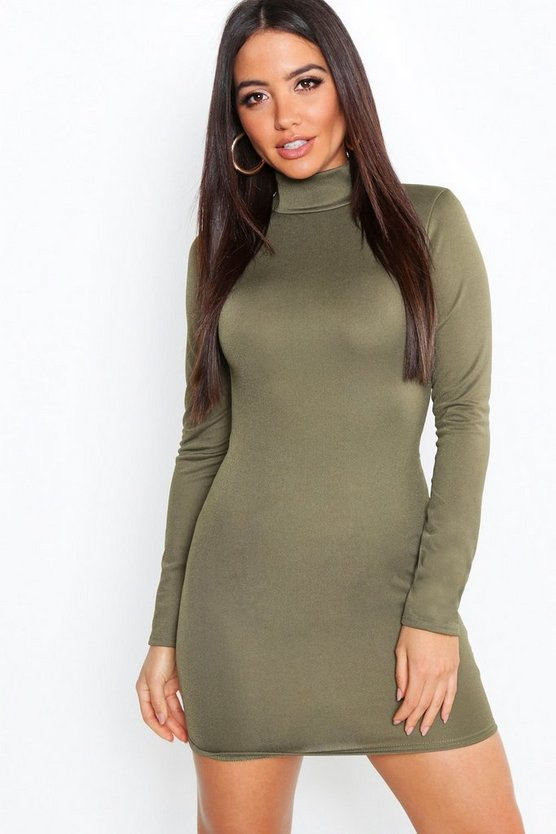 Crepe Roll Neck Long Sleeve Bodycon Dress