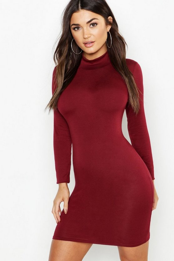 Womens Burgundy Jersey Roll Neck Bodycon Dress