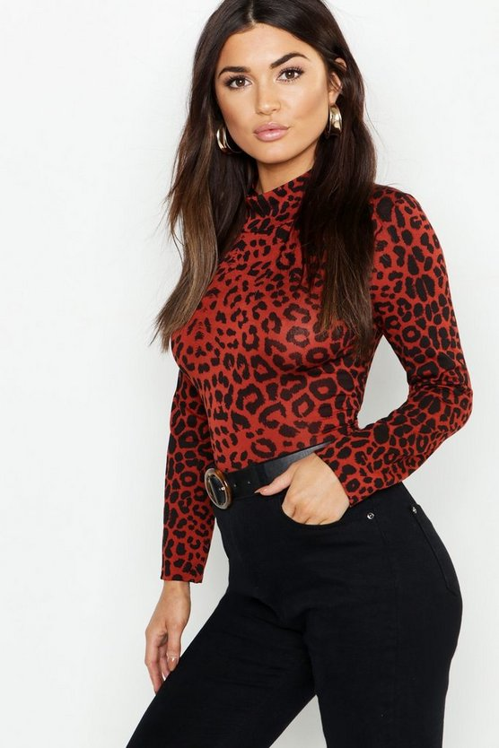 Womens Rust Jersey Leopard Print Roll Neck Top
