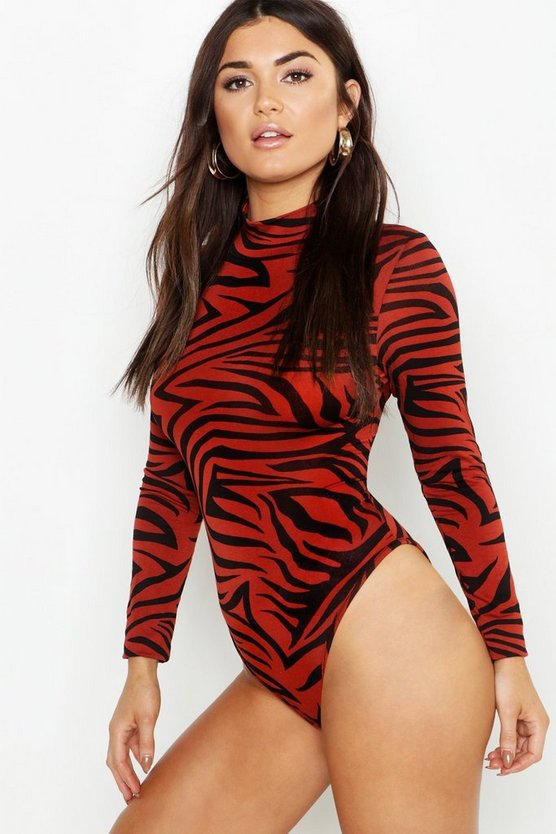 Womens Rust Jersey Zebra Roll Neck Bodysuit