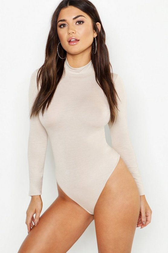 Womens Stone Jersey Roll Neck Bodysuit
