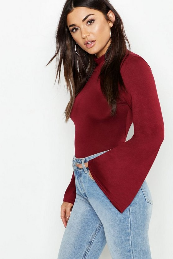 Jersey Roll Neck Flared Sleeve Top by Boohoo