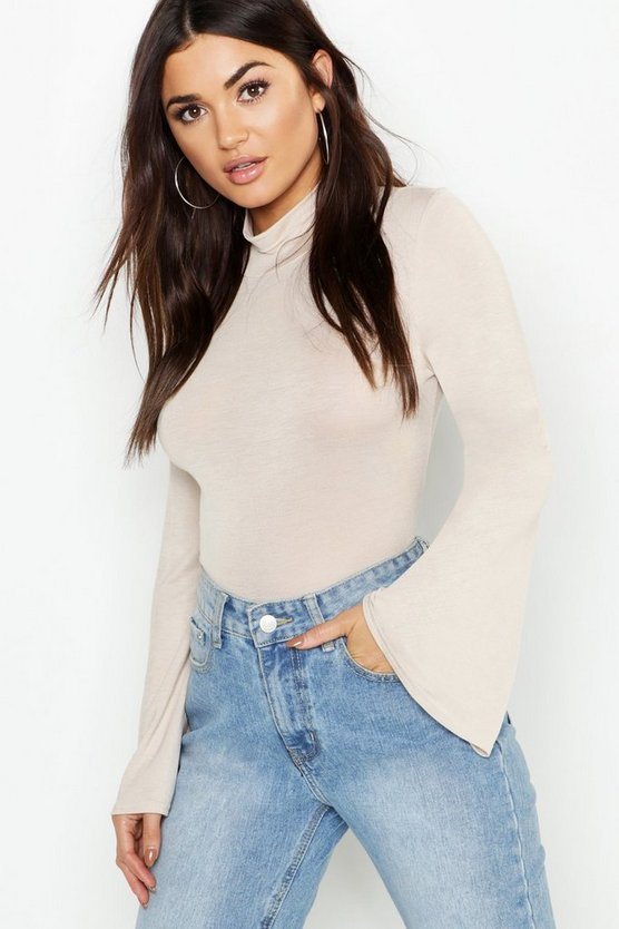Jersey Roll Neck Flared Sleeve Top