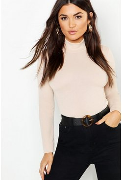 Womens Stone Crepe Roll Neck Long Sleeve Top