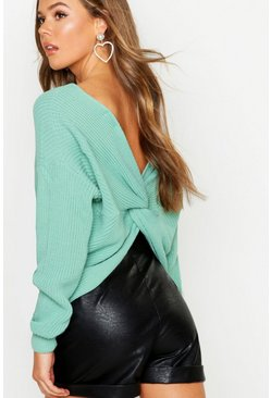 Womens Sage Crop Twist Sweater