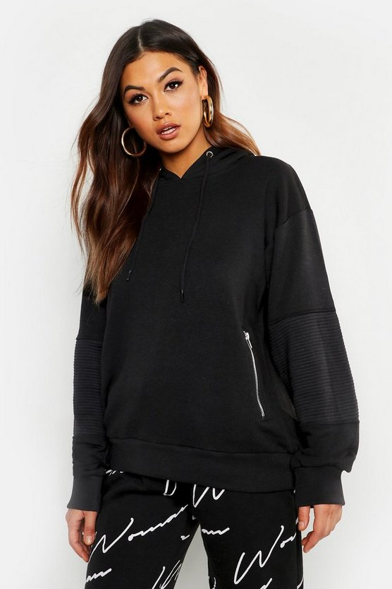 Black Rib Detail Hooded Zipped Sweat