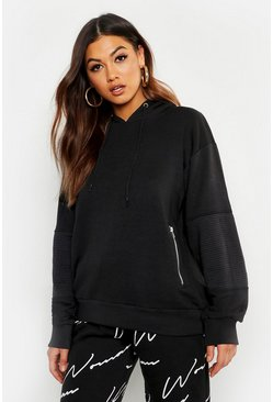 Womens Black Rib Detail Hooded Zipped Sweat