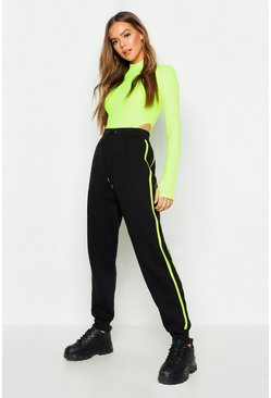 Womens Black Two Stripe Jogger Neon
