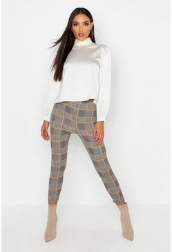 Womens Charcoal Crepe Check Leggings