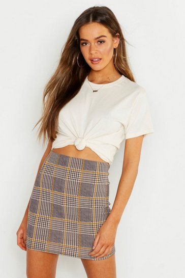 Womens Charcoal Crepe Check Mini Skirt