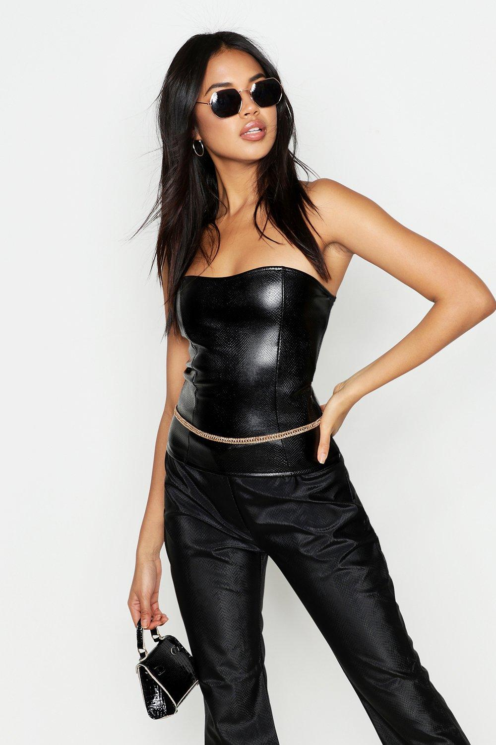 Faux Leather Croc Seamed Tube Top