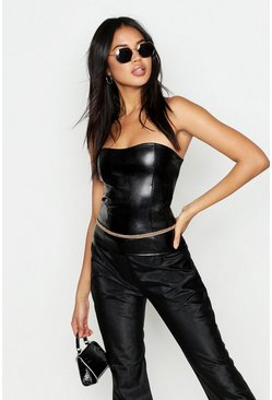 Womens Black Faux Leather Croc Seamed Tube Top