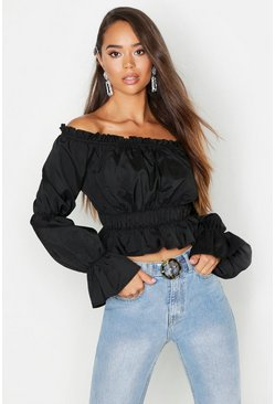 Womens Black Woven Shirred Off The Shoulder Top
