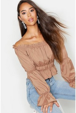Womens Mocha Woven Shirred Off The Shoulder Top