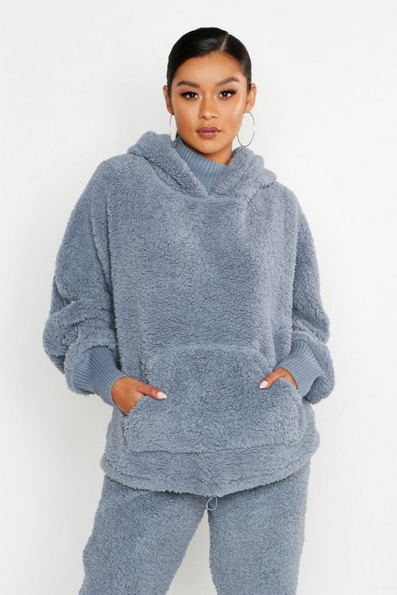 Womens Denim-blue Knitted Borg Roll Neck Hoodie
