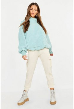 Womens Sage Knitted Borg Roll Neck Hoodie