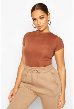 Womens Chocolate Basic Cap Sleeve Rib Bodysuit
