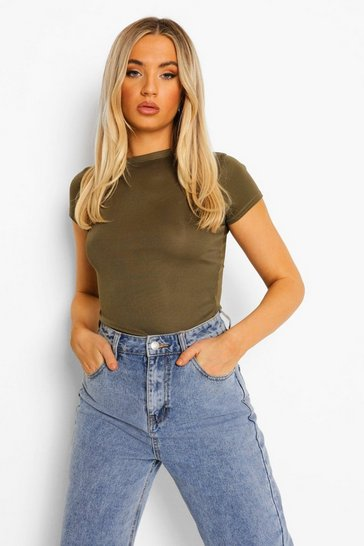 Womens Khaki Basic Cap Sleeve Rib Bodysuit