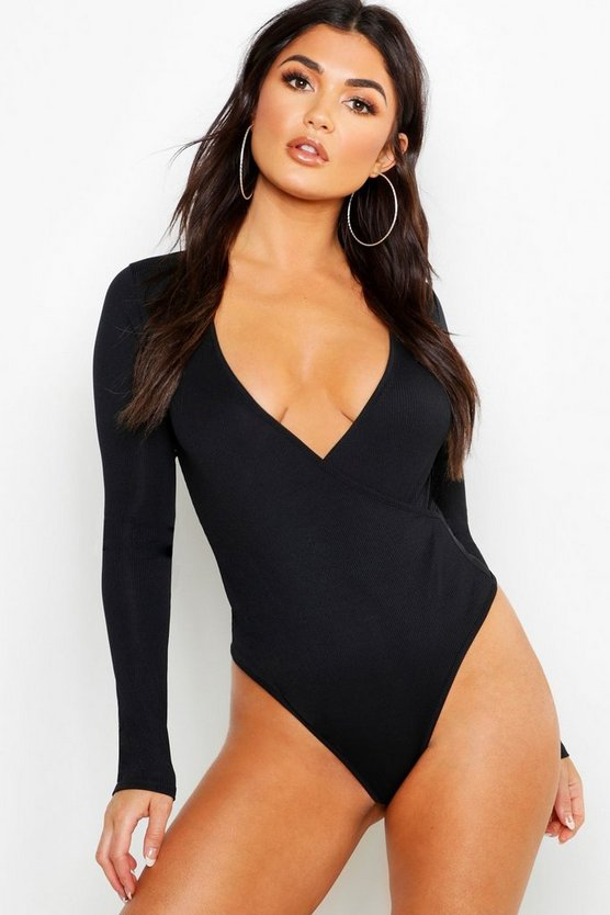 Womens Black Basic Rib Wrap Long Sleeve Bodysuit