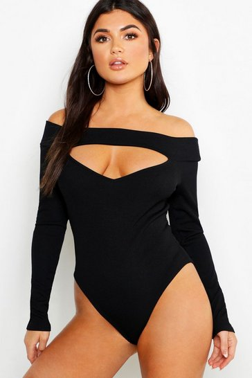 Womens Black Basic Bardot Cut Out Detail Rib Bodysuit