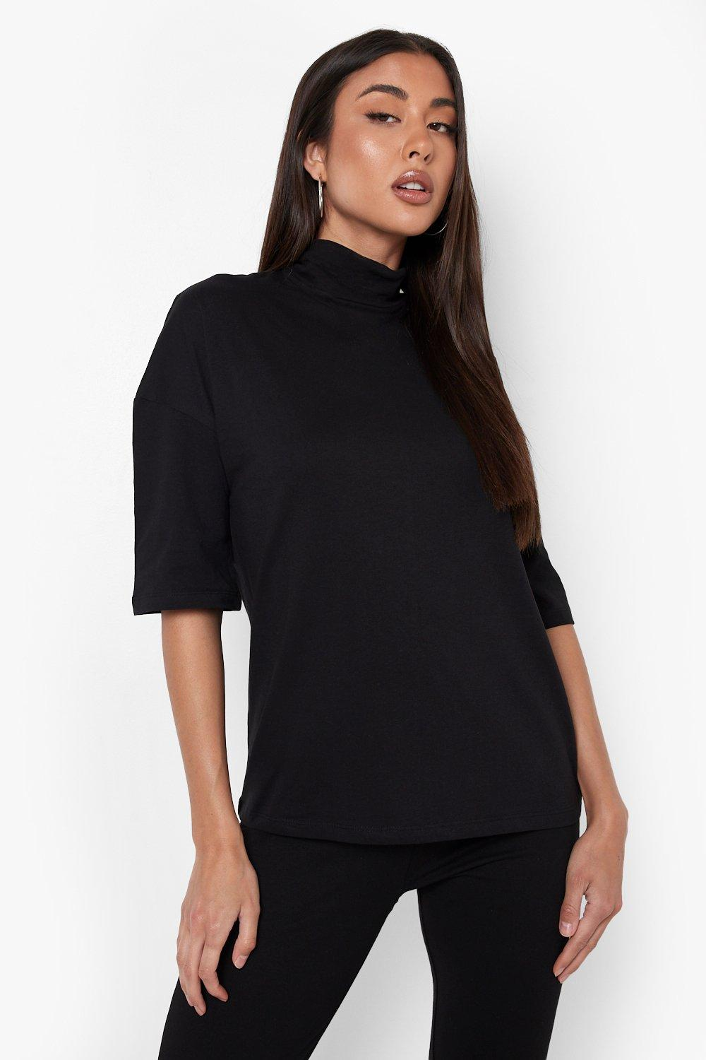 03c9a0d2 Womens Black Basic Oversized High Neck 3/4 Sleeve T-Shirt. Hover to zoom
