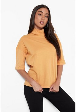 Camel Basic Oversized High Neck 3/4 Sleeve T-Shirt