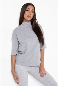 Womens Grey marl Basic Oversized High Neck 3/4 Sleeve T-Shirt