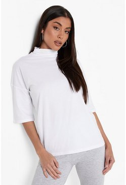 Womens White Basic Oversized High Neck 3/4 Sleeve T-Shirt