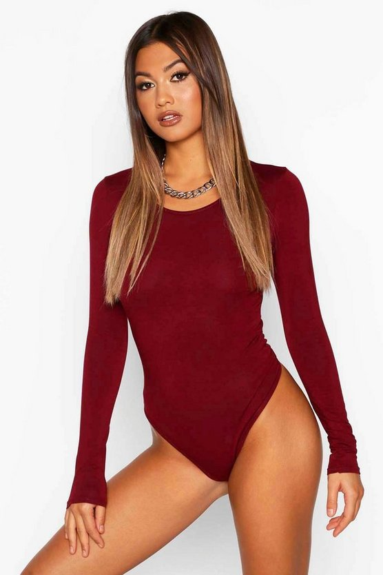 Berry Basic Scoop Neck Long Sleeve Bodysuit