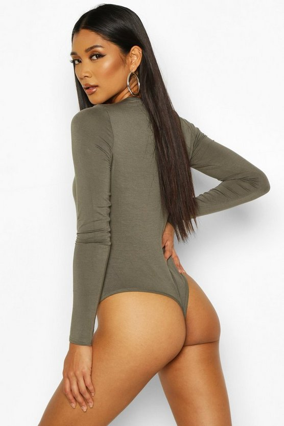 Basic Scoop Neck Long Sleeve Bodysuit