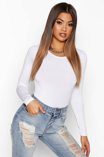 White Basic Scoop Neck Long Sleeve Bodysuit