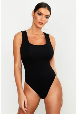 Womens Black Premium Basic Sleeveless Bodysuit