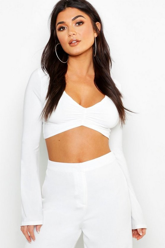 Slinky Ruched Long Sleeve Crop Top