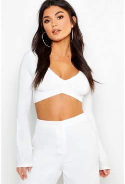 Womens Ivory Slinky Ruched Long Sleeve Crop Top