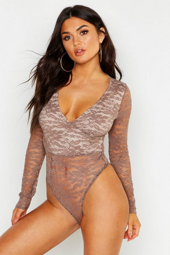 Womens Mocha Lace Long Sleeve Wrap Bodysuit
