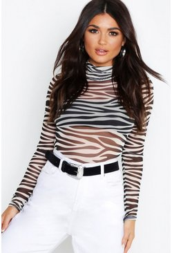 Womens Black Zebra Mesh High Neck Long Sleeve Bodysuit