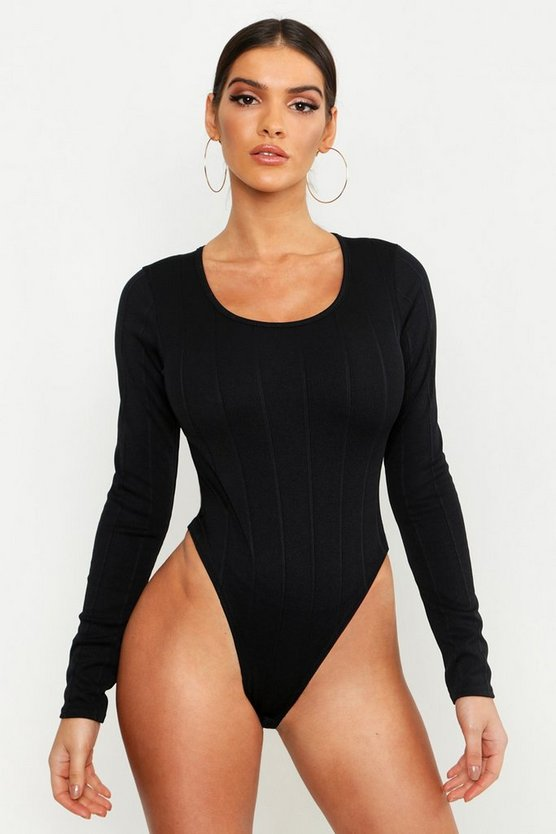 Bandage Rib Scoop Neck Long Sleeve Bodysuit